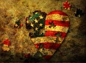 stock photo of the united states america  - USA American puzzle piece grunge heart with some pieces separated - JPG
