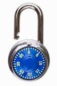 image of dial pad  - A combination pad lock that is open and has a blue dial and index mark - JPG