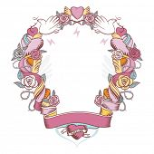 Pink vignette waved with roses and hearts