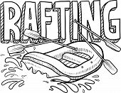 picture of raft  - Doodle style whitewater rafting illustration in vector format - JPG