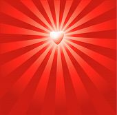 Red Burst Heart Background