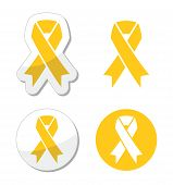Yellow ribbon - support for troops, suicide prevention, adoptive parents symbol