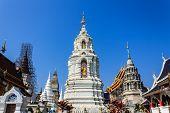 Ubosot And Chedi In Wat Ban Den, Maetang Chiangmai Thai Temple