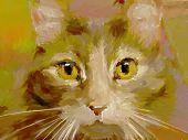 stock photo of impressionist  - artistic digital painting of a cat - JPG