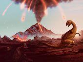 Extinção do dinossauro - arte de vulcão em erupção