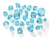 stock photo of alexandrite  - Sky Blue Topaz gems isolated on white background - JPG