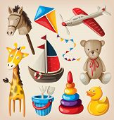 foto of bucket  - Set of colorful vintage toys for kids - JPG