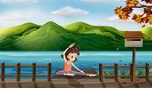 Illustration of a girl excercising along the seaside