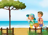 Illustration of a family at the beach