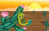 Illustration of a cactus with lizard