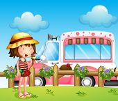 picture of ice-cream truck  - Illustration of a little girl and the ice cream bus - JPG