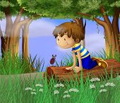 Illustration of a boy watching an insect