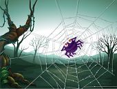 Illustration of a spiderweb in the woods