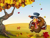 Ilustración de un pavo en un paisaje de otoño