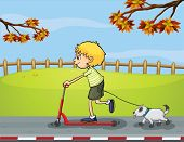 Illustration of a boy riding with his scooter followed by his pet