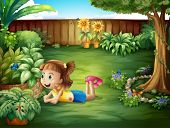 Illustration of a little girl watching a butterfly