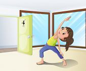 Illustration of a girl warming up in a room