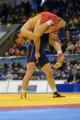 KIEV, UKRAINE - FEBRUARY 16: Match between Rabadanov, Russia, red and Aldatov, Ukraine during Intern