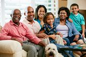 stock photo of grandparent child  - Portrait Of Multi Generation Family - JPG