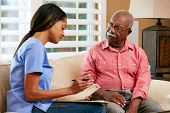 Nurse Discussing Records With Senior Female Patient During Home Visit
