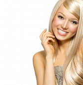 picture of hair streaks  - Beautiful Blond Girl isolated on a White Background - JPG