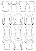 stock photo of v-neck collar  - Collection of women clothes outline templates - JPG