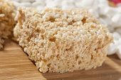 foto of crispy rice  - Homemade Marshmallow Crispy Rice Treat in bar form - JPG