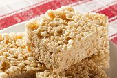 image of crispy rice  - Homemade Marshmallow Crispy Rice Treat in bar form - JPG