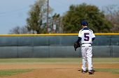 foto of little-league  - Little league baseball player taking the mound to pitch - JPG