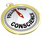 The words Follow Your Conscience on a golden compass to help you see the difference between right vs wrong