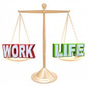 The words Work and Life are balanced against each other on a scale to determine what are the right a