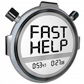 The words Fast Help on a stopwatch or timer representing quick action from customer support or servi