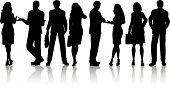image of person silhouette  - Silhouettes of business people in various poses - JPG