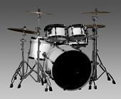 pic of drum-kit  - white drum kit in grey gradient back - JPG