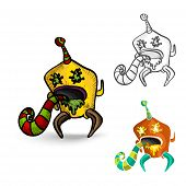 image of puke  - Halloween Monsters spooky hand drawn isolated freak creatures set - JPG