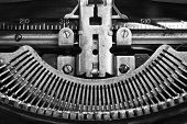 stock photo of qwerty  - An Antique Typewriter Showing Traditional QWERTY Keys IX