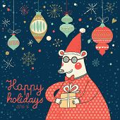 Happy New Year and Christmas card in vector. Funny bear in glasses with gift in cartoon style. Brigh