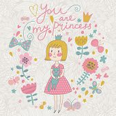 You are my princess. Cute small princess with her lovely cat in flowers and butterflies. Childish vector card in sweet colors
