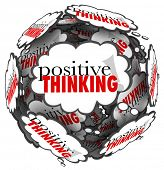 The words Positive Thinking in thought clouds to represent a great attitude being important to achie
