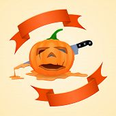 image of facial piercings  - Halloween pumpkin and pierce with a knife dripping with juice - JPG