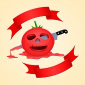 picture of facial piercings  - Halloween tomato and pierce with a knife dripping with juice - JPG