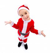 Funny Boy Wearing Santa Claus Uniform