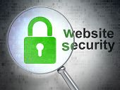 Safety concept: Closed Padlock and Website Security with optical