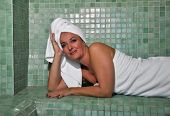 Woman Sitting In A Turkish Bath
