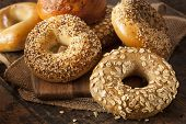 stock photo of bagel  - Healthy Organic Whole Grain Bagel for Breakfast - JPG