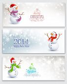 Christmas banners with snowmen
