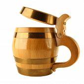 Mug For Beer As Wooden Barrel