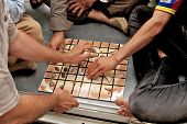 People Playing Traditional Board Game, Arbil, Autonomous Kurdistan, Iraq