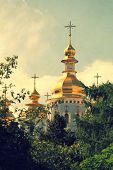 Church With Gold Domes, Vintage Photo