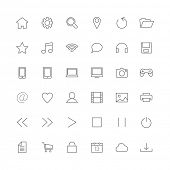 Set of thin icons